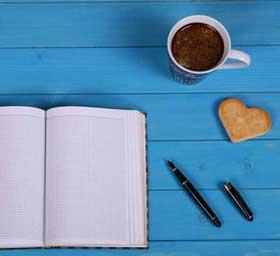 בלוג-מחברת קפה עוגיה ועט